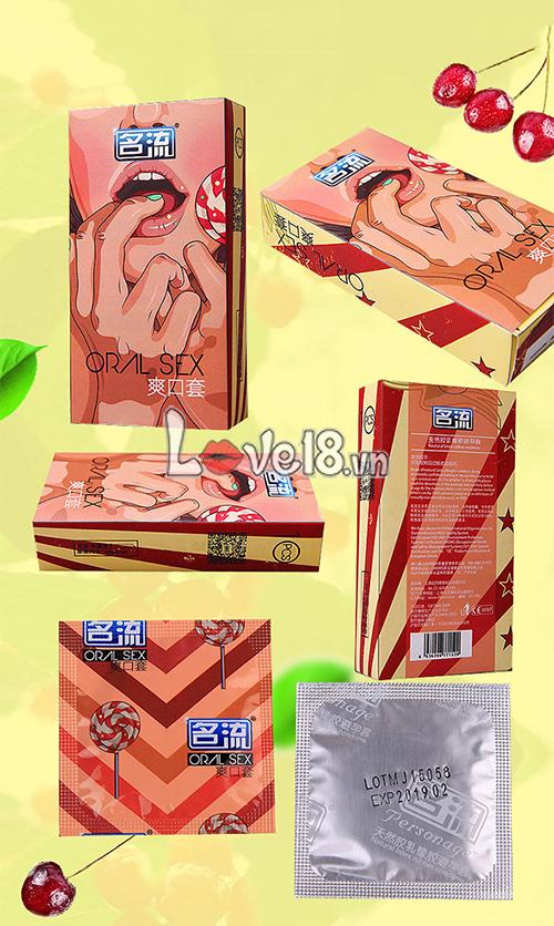 Bao Cao Su Quan Hệ Bằng Miệng Hương Cherry CD04A chính hãng