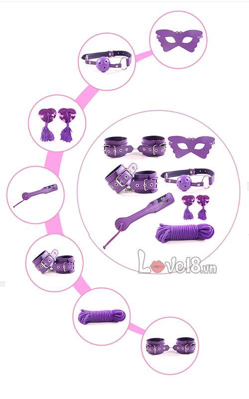 Bộ đồ chơi bạo dâm 8 món màu tím QT05 chính hãng mua ở đâu?