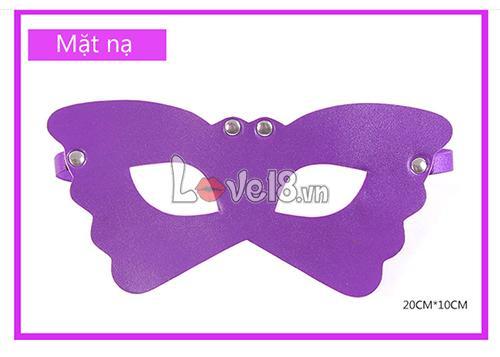 Bộ đồ chơi bạo dâm 8 món màu tím QT05 mặt nạ