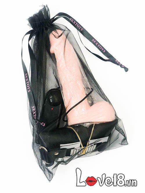 Dương vật dây đeo đặc ruột có rung DC65B dành cho đồng tính nữ lgbt