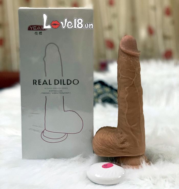 dương vật silicone gắn tường Real Dildo DV08T có rung thụt và sưởi ấm có kích thước to lý tưởng
