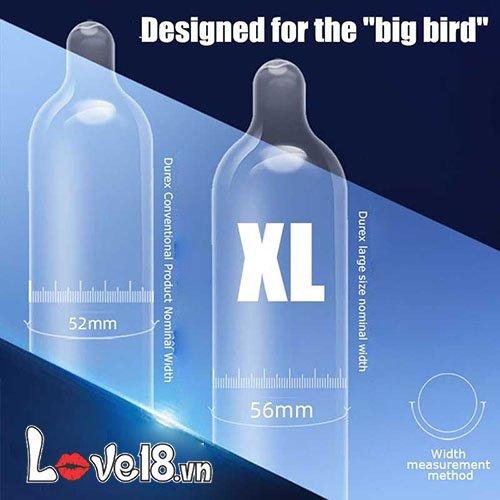 Bao cao su Durex Extra Large size XL XL12 có kích thước to dành cho nam giới có cậu bé khủng