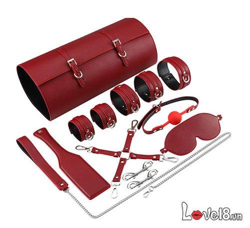 Bộ dụng cụ bạo dâm bằng da cao cấp QT45-QT46 màu đỏ giá rẻ
